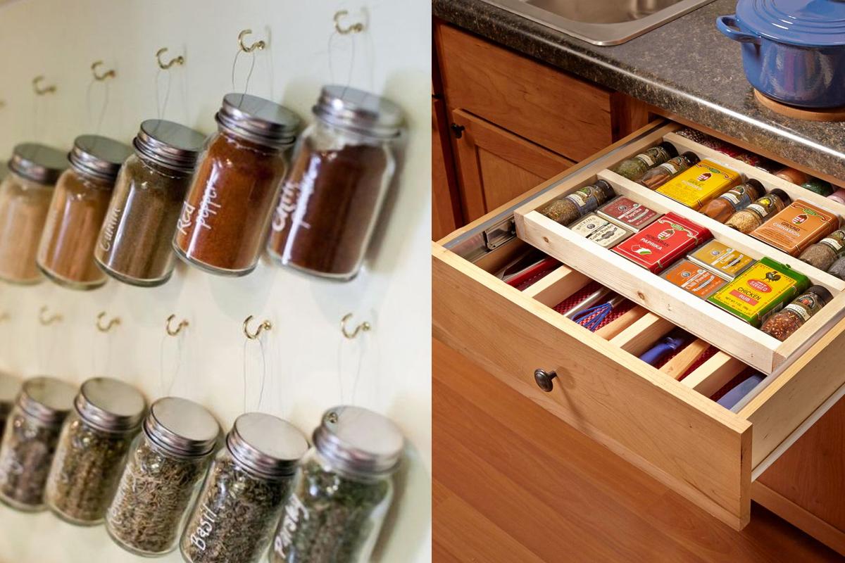 Выдвижные ящики и хранение специй на кухне